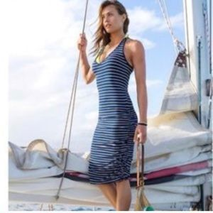 Athleta Striped Tee Racerback Ruched Dress Gray